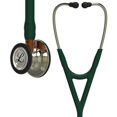6206 3M™ Littmann® Cardiology IV™ Diagnostic Stethoscope Champagne Hunter Green Orange