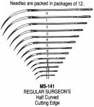 MS141-9 Miltex Reg Surg Ndls 1/2 Cut #9